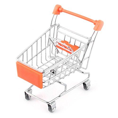 Hogar Desktop Metal Mini Shopping Carretilla de Mano Trolly Storage Container Cart Orange Blanco