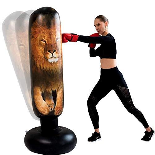 Saco de boxeo inflable para entrenamiento de boxeo, saco de boxeo de pie, saco de boxeo para niños y adultos