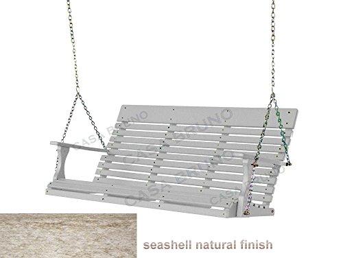 CASA BRUNO Original Savannah Hängeschaukel / Gartenschaukel 160 cm breit, aus recyceltem Polywood® HDPE Kunststoff, seashell natural finish - kompromisslos wetterfest