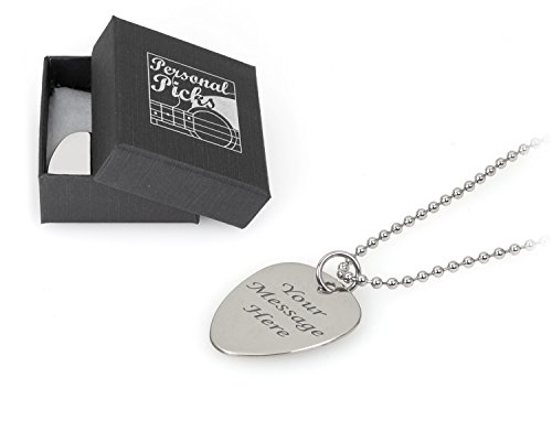 Personalised Plectrum Ballchain Necklace - Engraved - Enter Your Custom Text