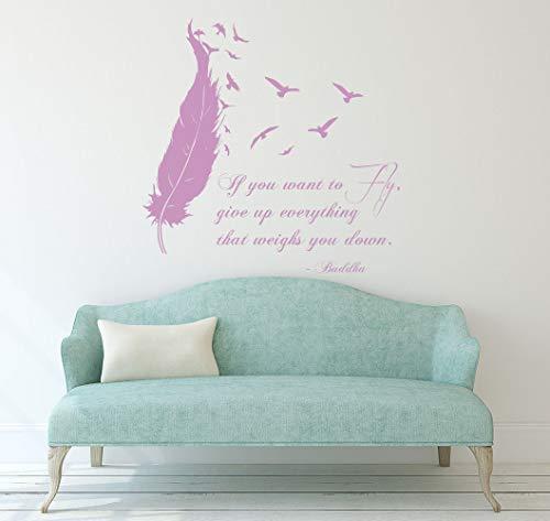 Vögel veer muurtattoos Boeddha citaat, als u wilt vliegen, geeft u alles op vinyl stickers woonkamer interieur decoratie KG717