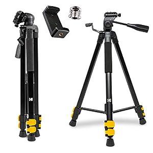"KODAK PhotoGear 62"" Lightweight Tripod w/E-Guide | Compact 3-Section Flip-Lock Aluminum Tripod Adjusts 22""-62"", 3-Way Head, QuickRelease Plate, 1/4"" to 3/8"" Screw Adapter, Bubble Level & Carry Case"