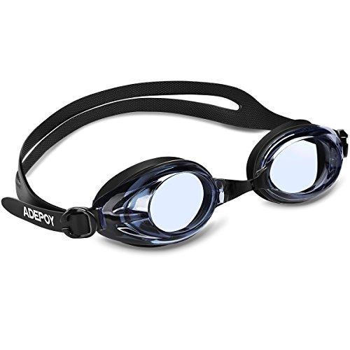 Adepoy Schwimmbrillen mit UV-Schutz und Antibeschlag-Schutz Bequem Schwimmbrillen für Erwachsene (#B Schwarz)