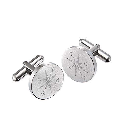 Gravado runde Manschettenknöpfe aus mattem Edelstahl mit Kompass Gravur, Personalisiert mit Jahreszahl und Initialen, inkl. Geschenkbox, Herren Schmuck
