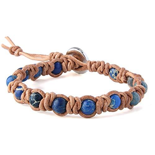 KELITCH Natürliche Türkis Perlen Wrap Armband Neue Kristall Strang Armband für Frauen 2020 (Dunkel Blau 94)