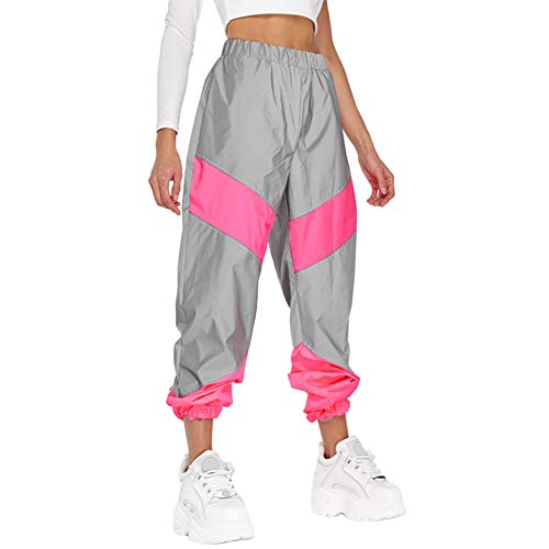 Meijunter Pantalon de Jogging réfléchissant pour Femmes Pantalon de jonction à Bande réfléchissante Haute visibilité Pantalon à Pieds Lumineux Pink XL