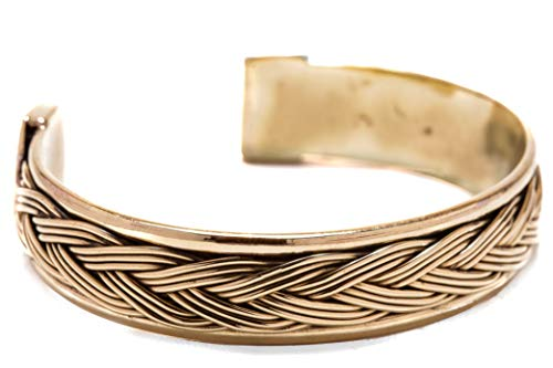 Windalf Unisex Vintage Vikings Armreif Raya Ø 5.8 cm Zopf Muster Bohemia Ethno Hippie Armschmuck Handgeschmiedet Bronze