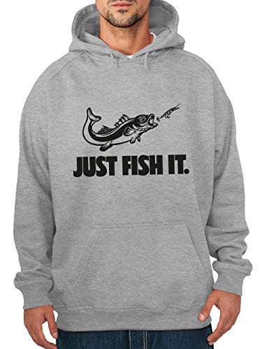 clothinx Herren Kapuzen-Pullover Angler Sprüche Just Fish it Grau/Schwarz Größe 3XL