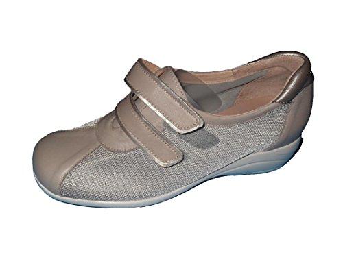 Zapato de señora/Ancho Especial/Plantilla Extraíble/Piel Combinado con Rejilla téxtil/Suela de Goma/Cierre fácil/Color...