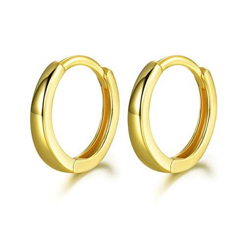 SNORSO Silber Creolen Ohrringe für Damen, 925 Sterling Silber Glänzend Gold Creolen ohne Zirkonia, Durchmesser 13mm Klein Schlafen Kreolen Kommt in Schmuck Geschenk Box