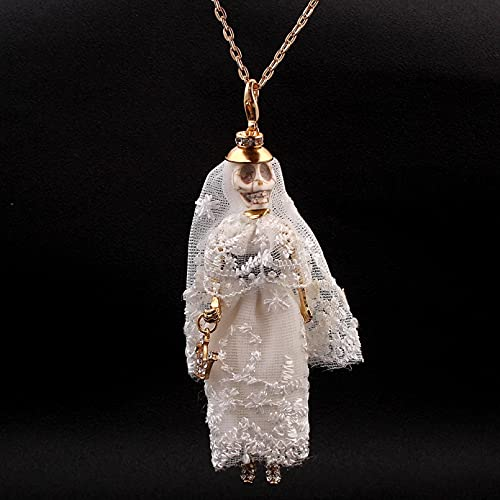 Collar Colgante Collar de muñeca Reina vestido de novia blanco collar de...