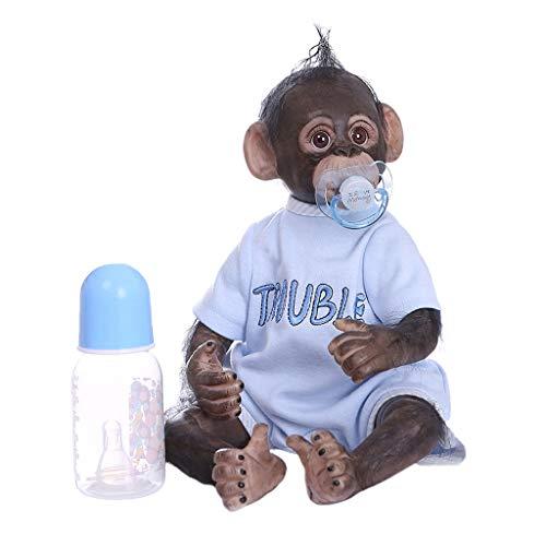 CUTICATE 16 Zoll AFFE Baby Doll Realistische Reborn Animal Collectible Art Toy Weiche Silikon Kopf Und Gliedmaßen, PP Baumwolle Körper - Blau, 16inch