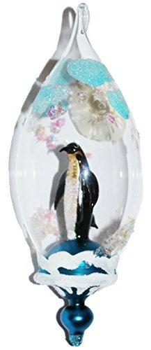 Christbaumschmuck Vogel Pinguin Glas Weihnachtskugel Polar Nights weiß blau mundgeblasen handbemalt