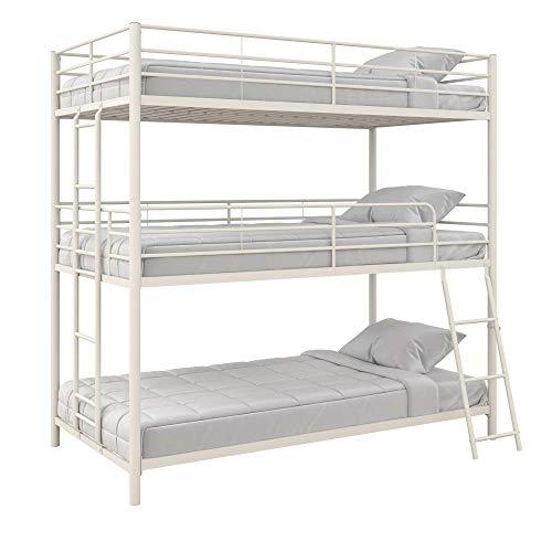 Max & Finn Altona Metal Triple Bunk Bed, Bed for Kids, Twin/Twin/Full, Black