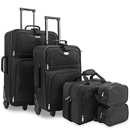Deuba Trolley Kofferset | Reisetaschen Set | Doppel Kulturbeutel | Netzfach | Rollen | Teleskopgriff | Koffer Reisetasche mit Rollen schwarz