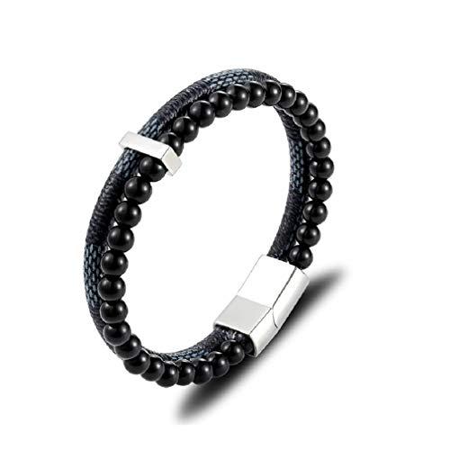 Idea de Regalo Pulsera de Cuero Genuino Con Perlas Para Hombres y Adolescentes - Cierre Magnético - Diseño de Multicapa Clásico y Trenzado - 2 Colores - Varios Modelos Disponibles