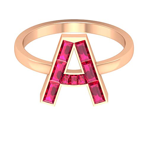 A Letter Alphabet Ring, Ruby Initial Ring, 1.51 CT Baguette Taper Shaped Ruby Ring, Red Gemstone Customized Ring, July Birthstone Anniversary Ring, 18K Rose Gold, Size:UK T