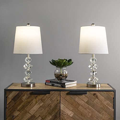nuLOOM Home MCT55AA-2 Frederick - Lámpara de mesa (cristal, metal, 21 pulgadas), transparente