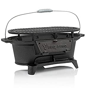 BBQ-Toro Gusseisen Grilltopf mit Grillrost | 50 x 25 x 23 cm | Hibachi Style Holzkohle Campinggrill