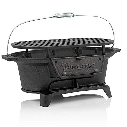 BBQ-Toro - Cast Iron Barbecue with Cooking Grate - 50 x 25 x 23 cm – Charcoal Camping Grill Hibachi-Style