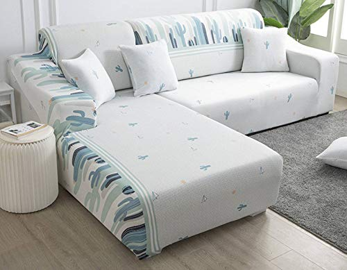 SLOUD Sofá Cubierta en Forma de L, Stretch Couch Cover, Sofá seccional Funda, Soft poliéster Muebles Cubierta del Protector Antideslizante con 2 Almohada Cubierta-B-En Forma de l 3+4 plazas