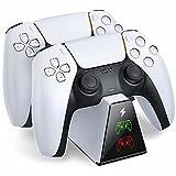 BEBONCOOL Estación de carga para PS5, controlador PS5, estación de carga con indicador LED para Sony DualSense, cargador controlador PS5, compatible con controlador inalámbrico Sony PlayStation 5