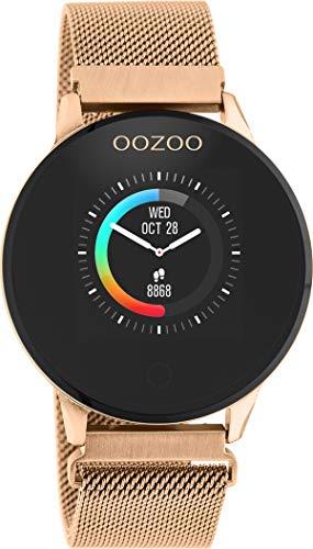 Oozoo Unisex Smartwatch mit Edelstahl Milanaiseband Rosegoldfaben 43 MM Q00117