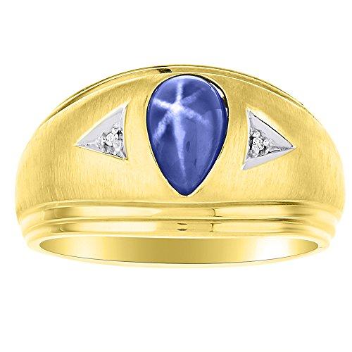Diamond & Simulado Azul Star anillo plata de ley o plata banda chapado en oro amarillo