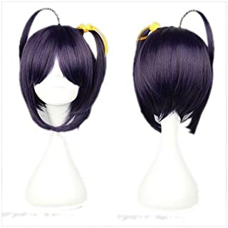 Takanashi Rikka Short Wig Cosplay Costume Purple Short Hair with Two Pony Tails Halloween Accessories Props Fiber 25cm