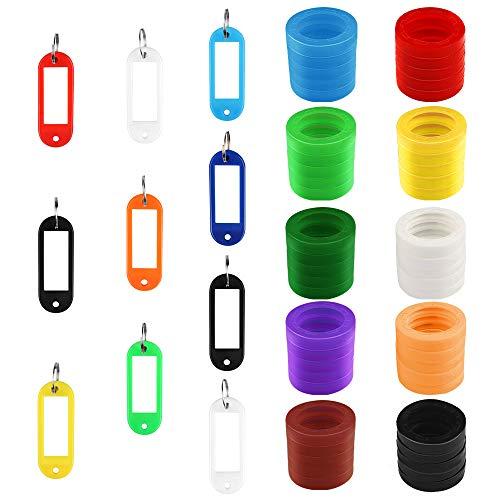 Heqishun 60 Piezas Identificador de Claves, 50 Tapa de Llaves Etiquetas Plástico y 10 Etiquetas Clave de Ventana Identificador de Plástico Clave de Codificación de Anillos (Multicolor)