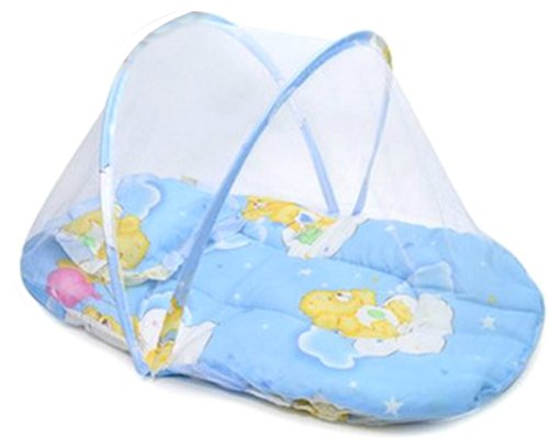 Baby Infant Mosquito Insect Net Mattress for Cradle Bed Portable with Pillow - Blue