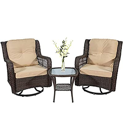 """3 Pieces Swivel Rocking Wicker Patio Furniture Bistro Set, Outdoor Rocking Chair Set, 2 Swivel Rocking 4.7"""" Beige Cushioned Patio Chairs and 1 Glass Side Table (Brown)"""