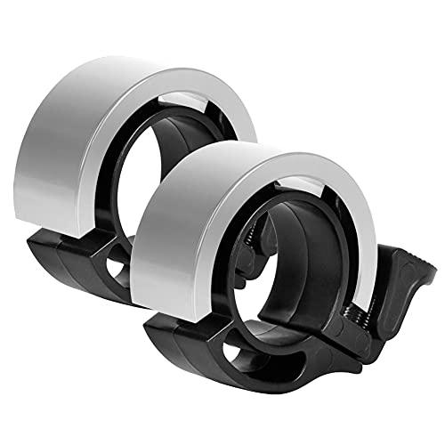 KNMY Mini timbre para bicicleta de aleación de aluminio, diseño innovador, anillo con sonido claro, para bicicleta (plata)