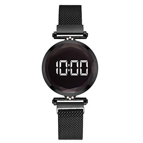 QiKun-Home Práctico Lujo Led Mujeres Pulsera magnética Relojes Reloj de Vestir Digital Reloj de Pulsera de Cuarzo Reloj de Mujer Negro