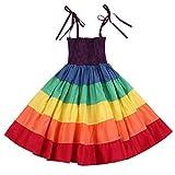 Baby Girls Rainbow Dress Toddler Princess Sleeveless Halter Beach Tutu Sundress (Colours-Little Sister, 18-24 Months)