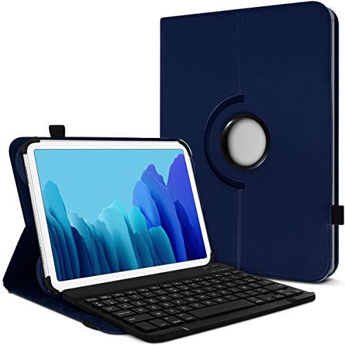 Karylax - Funda de protección y modo soporte horizontal con teclado francés Azerty Bluetooth para tablet Excelvan QT, color azul oscuro