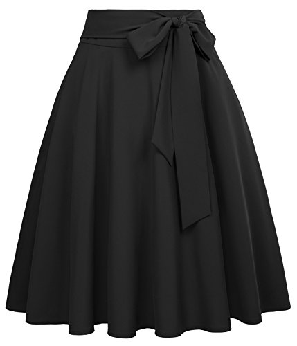 Women's Flared A-Line Skirt Retro Vintage Solid Tie Bow-Knot Decorated Black-1 Size L BP561-1