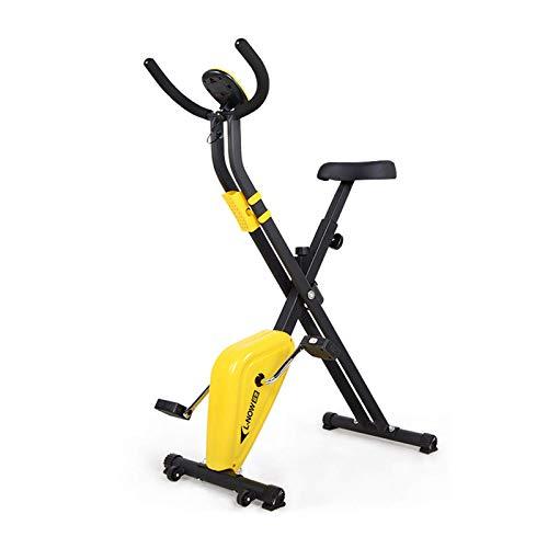 WGFGXQ Bicicleta estática Plegable para el hogar Magnética, Bicicleta giratoria para Interior, Bicicleta estacionaria con Monitor LCD Entrenador para el hogar