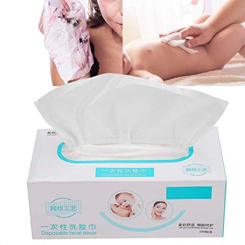100pcs coton jetable de serviette de visage, serviette de visage doux non-tissé cosmétiques tampons de coton non-tissé tissu serviette maquillage bébé lingettes nettoyage
