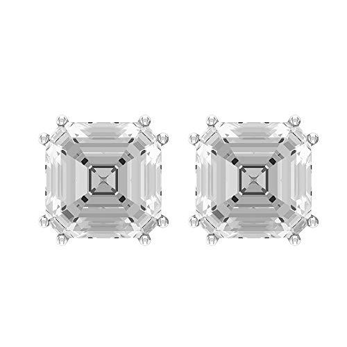 Rosec Jewels 10 quilates oro blanco asscher White topacio blanco