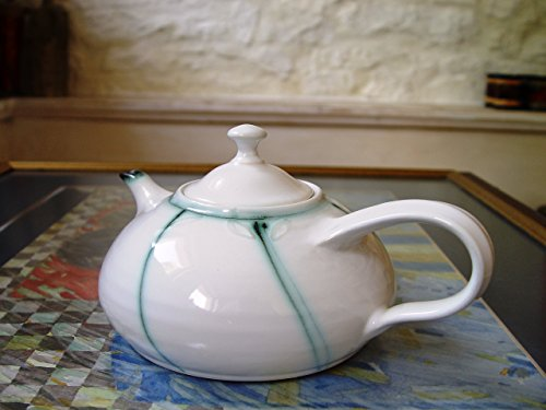 Handmade Stoneware Teapot. Elegant Teapot with Subtle Decoration in Sage Green Color