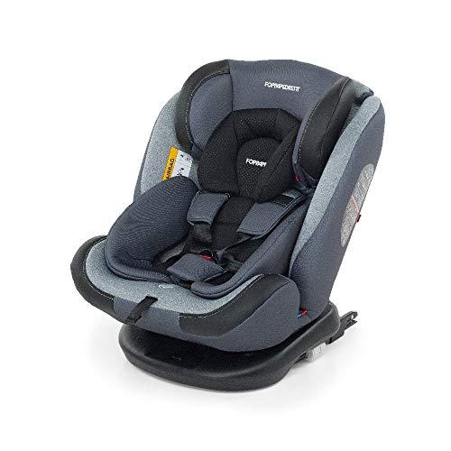 Foppapedretti 9700418803, Iturn duoFIX Seggiolino Auto Girevole 360°, Gruppo 0+/1/2/3 (0-36 kg), per Bambini dalla Nascita a 12 Anni, Silver