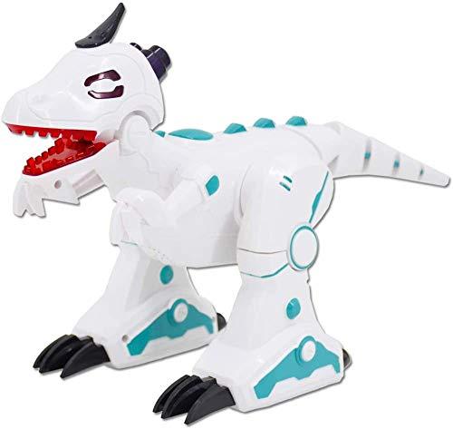 deAO RC Dinosaurio Robot Inteligente Mascota Teledirigida con Infrarrojos Efectos de Humo Luces y Sonidos Juguete T-Rex Electrónico (Blanco)