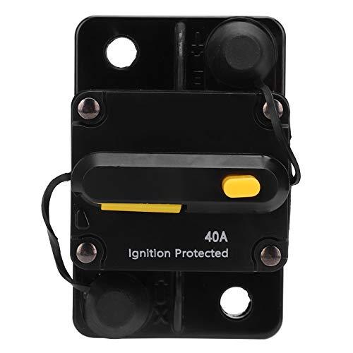 Bil självåterhämtning säkringshållare, gul dubbel effektbrytare, automatisk brytare säkringshållare 40 A DC12-42 V, koppla av med vattentätt lock