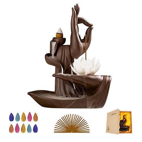 Buddha Lotus Incense Holder Backflow Ceramic Incense Burner with 10 Incense Cones, 30 Incense Sticks for Home Decor Yoga Craftwork Figurine