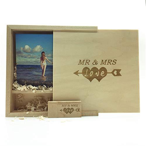 LXSINO Memoria USB de madera con láser grabada por Mr & Mrs Design - Memoria USB de...