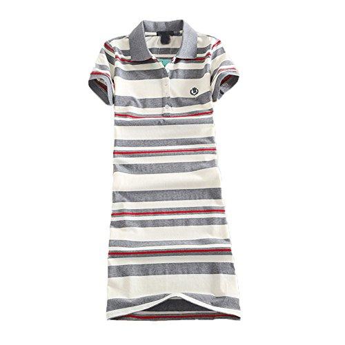 Teeuiear Women Embroidery Polo Striped Print Summer T Shirt Dress Slim Casual Mini Sport Dresses