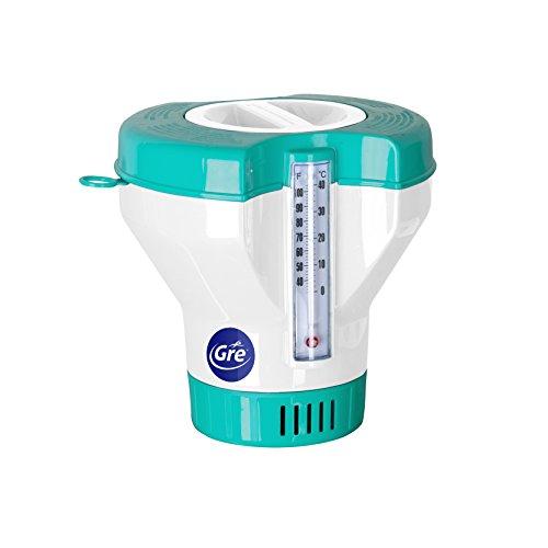 Gre 40070 - Dosificador Flotante con Termómetro para Piscinas, para Pastillas de 20 a 500 g