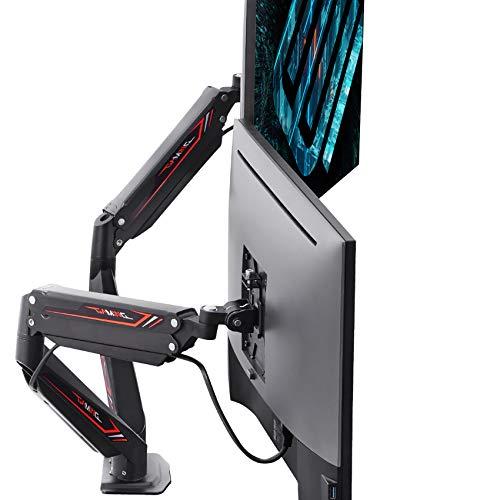 EUREKA ERGONOMIC Dual Monitor Arms, Full Motion Dual Stacking Mount, Fits Screens Up to 32', Gaming Design, Black