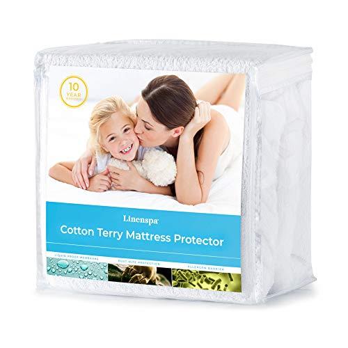 LINENSPA Cotton Terry Mattress Top ProtectionHypoallergenicWaterproofBlocks Dust Mites Allergens Accidents Protector Queen White